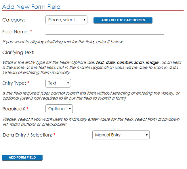 mobile form fields